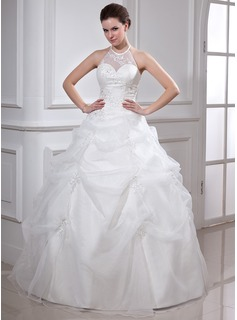 Ball-Gown Halter Floor-Length Organza Satin Quinceanera Dress With Ruffle Beading Appliques Lace (021002861)