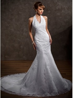 A-Line/Princess Halter Chapel Train Satin Tulle Wedding Dress With Lace Beading (002000297)