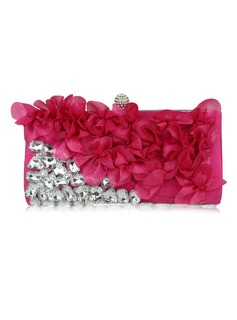 Charming Satin With Acrylic Jewels Clutches (012053165)