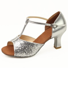 Women's Sparkling Glitter Heels Latin Ballroom With T-Strap Dance Shoes (053011481)