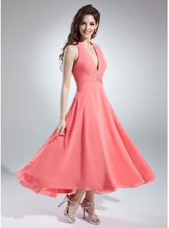 A-Line/Princess Halter Asymmetrical Chiffon Bridesmaid Dress With Ruffle Beading (007001145)