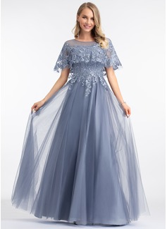 A-Line Scoop Neck Floor-Length Tulle Evening Dress (017198671)