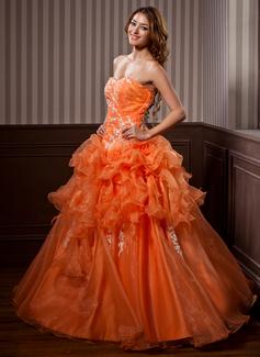 Duchesse-Linie Herzausschnitt Bodenlang Organza Quinceañera Kleid (Kleid für die Geburtstagsfeier) mit Applikationen Spitze Gestufte Rüschen (021004720)