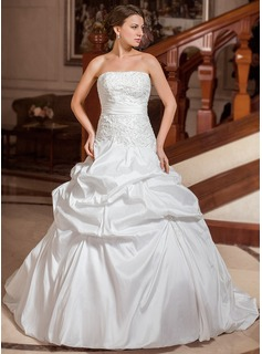 Ball-Gown Strapless Court Train Taffeta Wedding Dress With Embroidery Ruffle Beadwork (002000110)