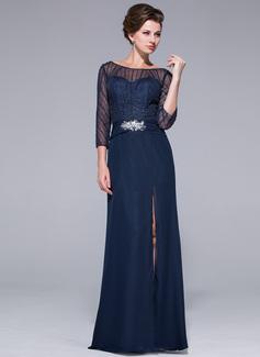 Etui-Linie Off-the-Schulter Bodenlang Chiffon Kleid für die Brautmutter mit Perlstickerei Pailletten Schlitz Vorn (008025501)
