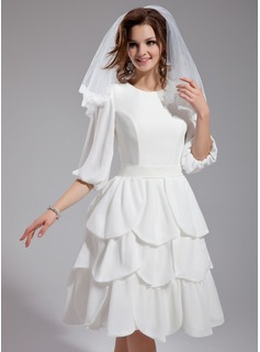 A-Line/Princess Scoop Neck Knee-Length Chiffon Wedding Dress With Ruffle (002012032)