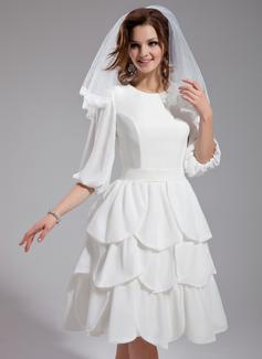 Forme Princesse Col rond Longueur genou Mousseline Robe de mariée avec Plissé (002012032)