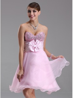Sweet Sixteen Dresses Empire Sweetheart Knee-Length Organza Satin Sequined Homecoming Dress With Ruffle Beading Flower(s) (022003368)