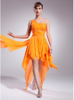 A-Line/Princess One-Shoulder Asymmetrical Chiffon Homecoming Dress With Beading Cascading Ruffles (022009957)
