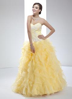Duchesse-Linie Herzausschnitt Bodenlang Organza Quinceañera Kleid (Kleid für die Geburtstagsfeier) mit Applikationen Spitze Gestufte Rüschen (021017447)