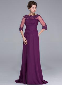 A-Linie/Princess-Linie Off-the-Schulter Sweep/Pinsel zug Chiffon Kleid für die Brautmutter mit Rüschen Spitze Perlstickerei Pailletten (008025696)