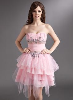 A-Linie/Princess-Linie Herzausschnitt Knielang Chiffon Tüll Festliche Kleid mit Rüschen Perlen verziert (020036579)