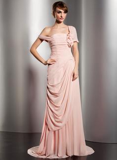 Forme Princesse Epaules nues Traîne watteau Mousseline Robe de soirée avec Plissé Fleur(s) (017014578)
