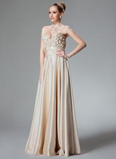 A-Linie/Princess-Linie Herzausschnitt Bodenlang Charmeuse Abendkleid mit Rüschen Perlen verziert (017022514)