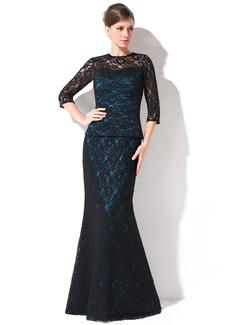 Trompete/Meerjungfrau-Linie U-Ausschnitt Bodenlang Spitze Kleid für die Brautmutter (008042314)
