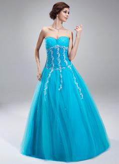 A-Linie/Princess-Linie Schatz Bodenlang Tüll Quinceañera Kleid (Kleid für die Geburtstagsfeier) mit Perlstickerei Applikationen Spitze Pailletten (021018808)