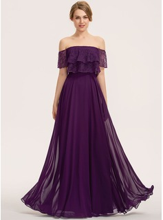 A-Line Off-the-Shoulder Floor-Length Chiffon Lace Bridesmaid Dress With Cascading Ruffles (007190706)