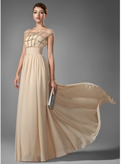 A-Line/Princess Scoop Neck Floor-Length Chiffon Prom Dresses With Ruffle Beading (018005069)
