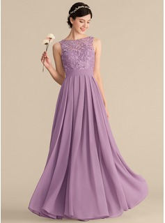 A-Line/Princess Scoop Neck Floor-Length Chiffon Lace Bridesmaid Dress With Ruffle (007165840)