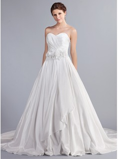 Ball-Gown Sweetheart Cathedral Train Taffeta Wedding Dress With Ruffle Flower(s) (002000082)