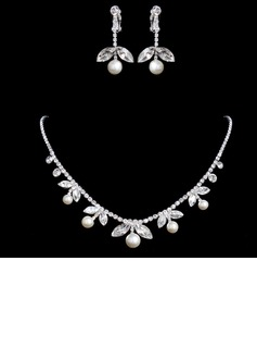 Elegant Gold With Pearl Rhinestone Women's Jewelry Sets (011017094)