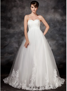 Empire Sweetheart Court Train Tulle Wedding Dress With Appliques Lace (002017117)