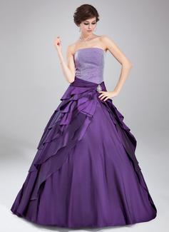 Duchesse-Linie Trägerlos Bodenlang Taft Quinceañera Kleid (Kleid für die Geburtstagsfeier) mit Kristalle Blumen Brosche Gestufte Rüschen (021020765)