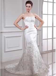 Trumpet/Mermaid Strapless Court Train Organza Satin Wedding Dress With Embroidery Beading Sequins (002000338)