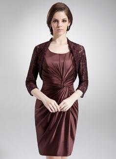 Etui-Linie U-Ausschnitt Kurz/Mini Charmeuse Kleid für die Brautmutter mit Rüschen (008006077)