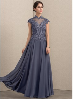 A-Line/Princess High Neck Floor-Length Chiffon Lace Mother of the Bride Dress With Sequins (008164094)