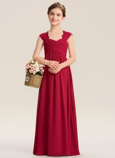 Corte A Amada Longos Tecido de seda Renda Vestido de daminha júnior com Pregueado (009173278)
