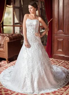 Forme Princesse Bustier en coeur Traîne cathédrale Satiné Dentelle Robe de mariée avec Emperler (002000544)