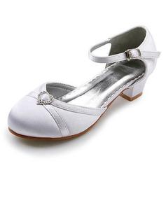 Frauen Satin Niederiger Absatz Geschlossene Zehe Flache Schuhe mit Schnalle Strass (047011837)