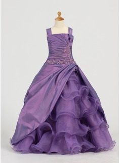A-Line/Princess Square Neckline Floor-Length Taffeta Organza Flower Girl Dress With Ruffle Lace Beading Sequins (010005784)