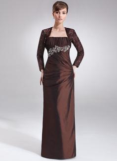 Etui-Linie Trägerlos Bodenlang Taft Kleid für die Brautmutter mit Rüschen Perlen verziert (008021716)