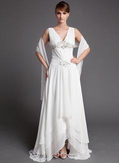A-Linie/Princess-Linie V-Ausschnitt Asymmetrisch Chiffon Kleid für die Brautmutter mit Lace Perlstickerei Pailletten Gestufte Rüschen (008005972)