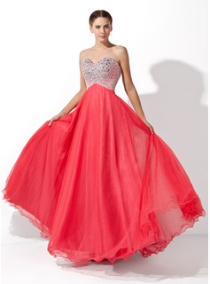 Robe de Bal de Promo Ligne-A/Princesse Cur Longeur au sol Tulle Charmeuse Robe de Bal de Promo avec Brod (018004812)