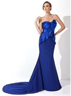 Formal Dresses Online Mermaid Sweetheart Court Train Chiffon Charmeuse Evening Dress With Ruffle (017006701)