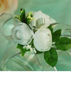 Nice/White Free-Form Satin Wrist Corsage/Pin-on Corsage (124032027)