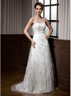 A-Line/Princess Scoop Neck Sweep Train Lace Wedding Dress With Beading (002011451)