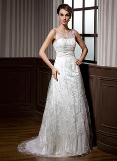 Forme Princesse Col rond alayage/Pinceau train Satiné Dentelle Robe de mariée avec Emperler (002011451)