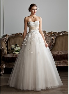 Ball-Gown Sweetheart Floor-Length Satin Tulle Wedding Dress With Ruffle Sashes Beadwork Appliques Flower(s) (002013803)