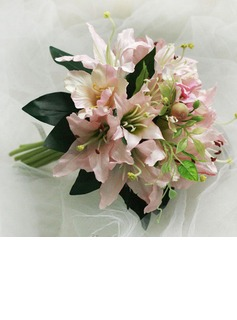 Pretty Lily Round Satin Bridal Bouquets (124032148)