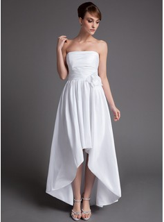 A-Line/Princess Strapless Asymmetrical Taffeta Wedding Dress With Ruffle Flower(s) (002025837)