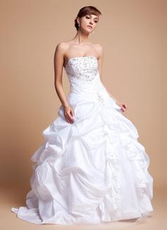 Duchesse-Linie Trägerlos Bodenlang Taft Tüll Brautkleid mit Bestickt Rüschen Perlstickerei Pailletten (002012718)