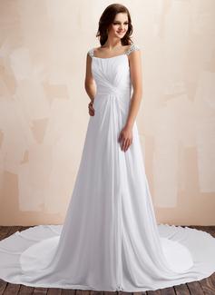 A-Line/Princess Sweetheart Chapel Train Chiffon Wedding Dress With Ruffle Beading (002012002)
