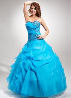 Duchesse-Linie Schatz Bodenlang Organza Quinceañera Kleid (Kleid für die Geburtstagsfeier) mit Bestickt Perlstickerei Pailletten Gestufte Rüschen (021016391)