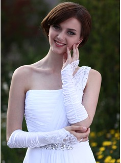 Elastic Satin Elbow Length Bridal Gloves (014003944)