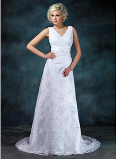 Empire V-neck Court Train Satin Lace Wedding Dress With Ruffle Beading (002000314)