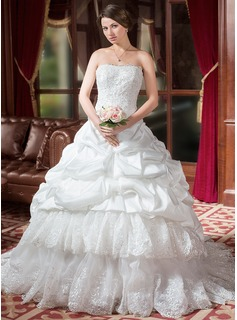 Ball-Gown Sweetheart Chapel Train Taffeta Organza Wedding Dress With Ruffle Lace Beadwork (002000268)